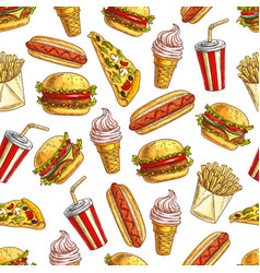Fast food meal pattern vector