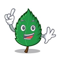 Finger mint leaves mascot cartoon vector