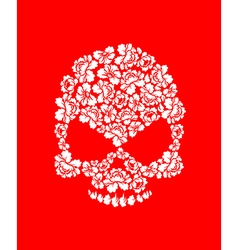 Floral skull on red background white roses and vector