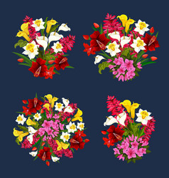 Flower bouquets spring floral icons set vector