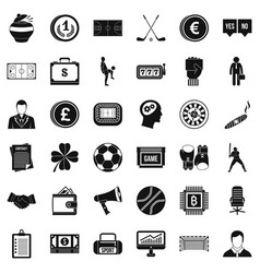 fortune icons set simple style vector image