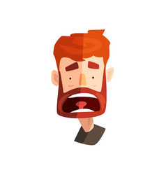 Frightened redhead bearded man male emotional vector