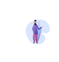 Funny guy standing pose smiling man in casual vector