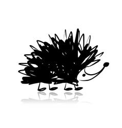 Funny hedgehog sketch for your design vector