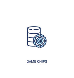 Game chips concept 2 colored icon simple line vector