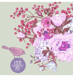 Gentle Spring Floral Bouquet with Birds vector image