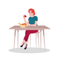 girl enjoying fresh fruits semi flat rgb color vector image