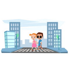 girl helps a blind boy to cross the road vector image