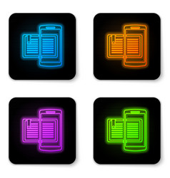 glowing neon smartphone and book icon isolated on vector image