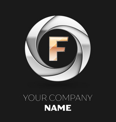 golden letter f logo symbol in the circle shape vector image