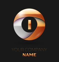 Golden letter i logo in the golden-silver circle vector