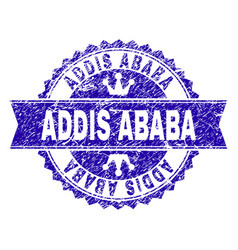 Grunge textured addis ababa stamp seal with ribbon vector