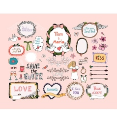 Hand drawn design elements for wedding invitations vector image
