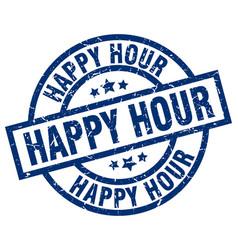 Happy hour blue round grunge stamp vector