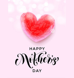 happy mother day pink heart flower greeting card vector image