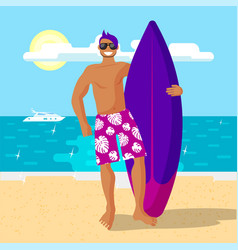 happy surfer in pink shorts holding a vector image