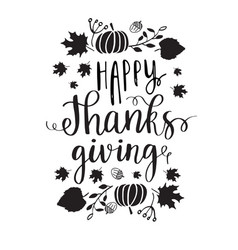 Happy thanksgiving lettering vector