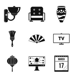 Inner part icons set simple style vector