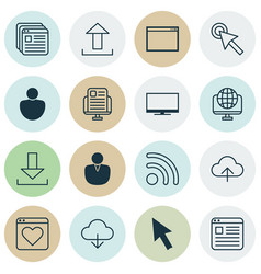 Internet icons set with user display global and vector