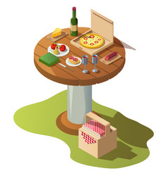 Isometric wooden table for picnic with pizza vector