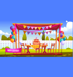 kids birthday party decoration on house backyard vector image