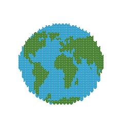 Knitted Earth Globe made of wool Winter version of vector image
