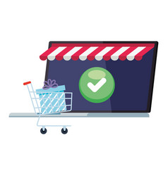 Laptop with tent gift inside cart and check mark vector
