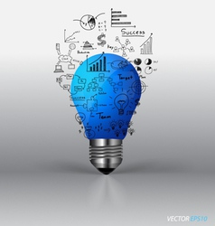 Light bulb with drawing graph inside vector image