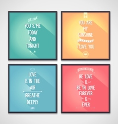 Love quote posters with flat design lettering vector