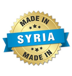Made in Syria gold badge with blue ribbon vector