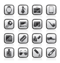 Male accessories and clothes icons vector