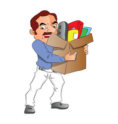 man carrying carton full of office supplies vector image