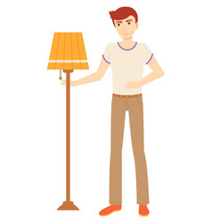 Man selling torchiere floor lampshade image vector