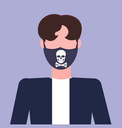 man wearing protective face mask with skull and vector image