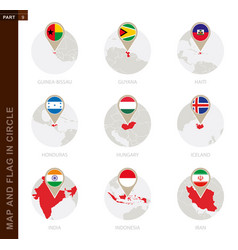 Map and flag in a circle 9 countries vector