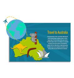 Map australia and travel icons australia vector