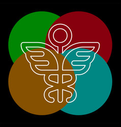 Medical symbol - caduceus icon - health sig vector