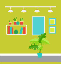 modern room interior with plants in pots shelves vector image