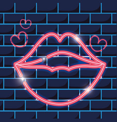 Mouth with heart neon icons decoration vector