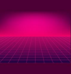 Neon floor perspective grid vector