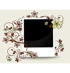 Old photograph with floral ornament vector image