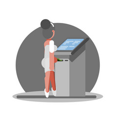 old woman using atm vector image