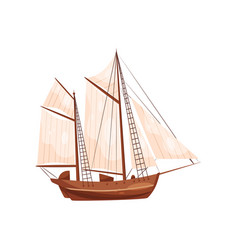 Old wooden ship with big beige sails sailing vector