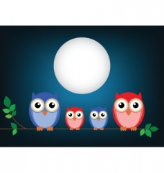 owl family cartoon vector image vector image
