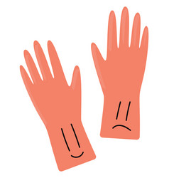 pink gloves on white background vector image