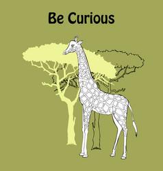 quotes poster with giraffe savanna animal vector image