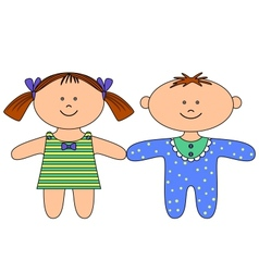 Rag dolls boy and girl vector
