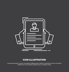 resume employee hiring hr profile icon line vector image