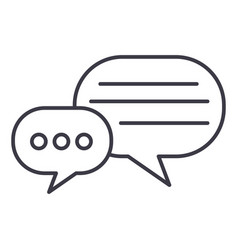 Round chats line icon sign vector
