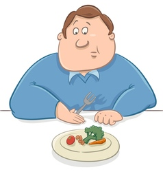sad man on diet cartoon vector image